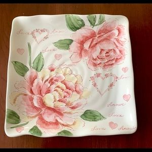 29 cm Square Porcelain serving plate w pink roses